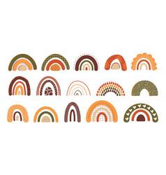 hand drawn rainbow doodle multicolor arcs vector image