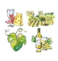 Hand drawn wine vector