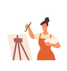 happy artistic female in apron drawing picture use vector image