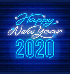 happy new year 2020 neon text vector image
