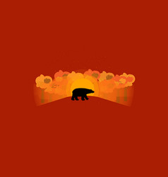 hello autumn background with wild animal shape vector image