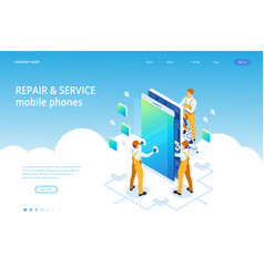isometric smartphone repair service concept vector image