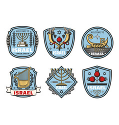 israel travel landmark symbols vector image