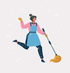 kid cleaning floor with dust mop wet broom vector image