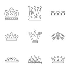 King crown icon set outline style vector