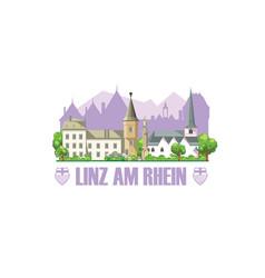 Linz am rhein city skyline with monuments vector