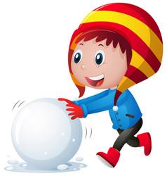 Little boy rolling snowball vector