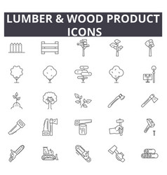 Lumber wood production line icons for web and vector