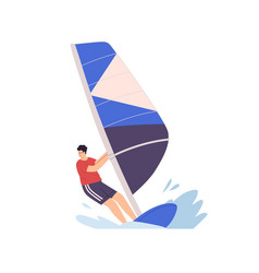 Man windsurfing standing on board with sail vector