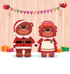 Married couple bear Santa Claus and his wife vector image