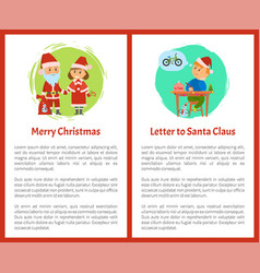 Merry christmas letter santa claus written by boy vector