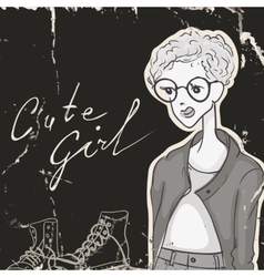 Modest Girl Hipster Style vector image