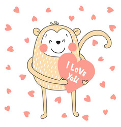 monkey with heart vector image
