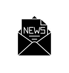 news in an envelope black icon sign on vector image