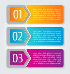 One Two Three progress labels with arrows vector image