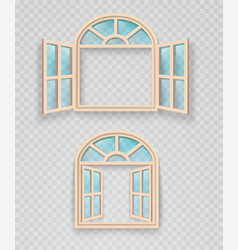 open and closed wooden window on a transparent vector image