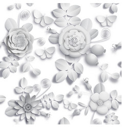 Paper craft 3d wild rose flowers rosehip berries vector