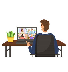 People talking to each other via video call vector