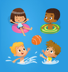 Pool character multiracial children have fun in vector