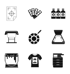 Printing services icons set simple style vector