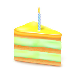realistic 3d detailed slice birthday cake vector image