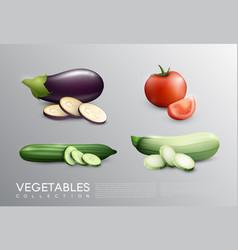 realistic fresh vegetables set vector image