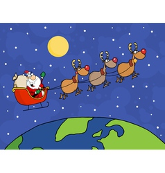 Santa Waving And Flying Over Earth vector image