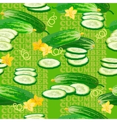 Seamless texture with cucumber flower and slices vector