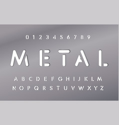 set letters and numbers in metal plate vector image