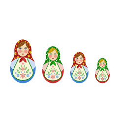 Set of russian nesting dolls vector