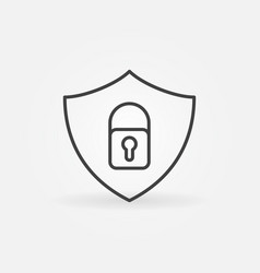 shield with padlock linear icon security vector image