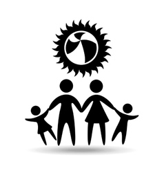 silhouette family vacation ball beach game vector image