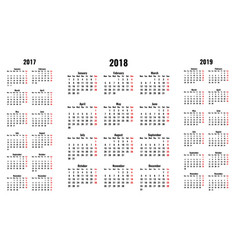 simple calendars for 2018 and 2017 2019 years vector image