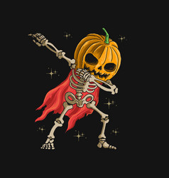 skeleton pumpkin head dabbing dance v vector image