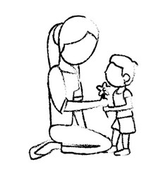 Sketch mother and son with flower vector