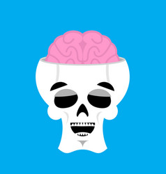 skull and brain happy emoji skeleton head marry vector image