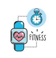 Smartwatch with heartbeat inside and choronometer vector