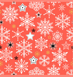 snow pattern on red background vector image