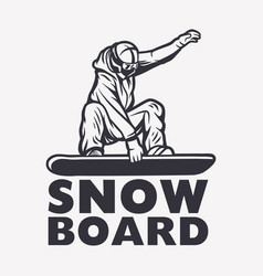 Snowboarder black and white design element vector