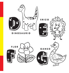 Spanish alphabet dinosaur hedgehog flower vector