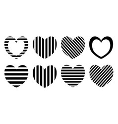 striped heart set pattern design vector image