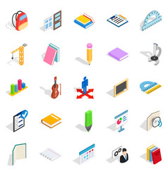 Studies icons set isometric style vector