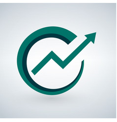 success direction green arrow icon simple vector image