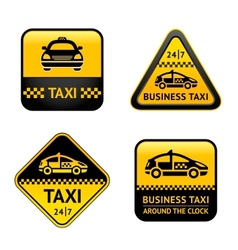 Taxi cab set labels vector image