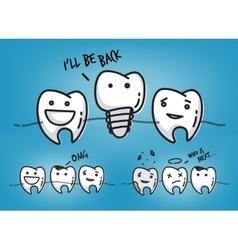 Teeth cool blue cartoons vector