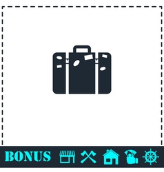Travel bag icon flat vector