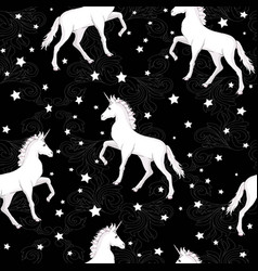 unicorn seamless pattern unicorns with rainbow vector image