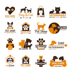 Vet clinic logo pets shop cats dogs domestic vector
