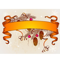 vintage christmas banner and branch of christmas t vector image