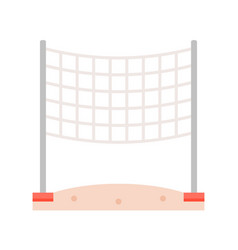 Volleyball net on beach sand flat icon vector